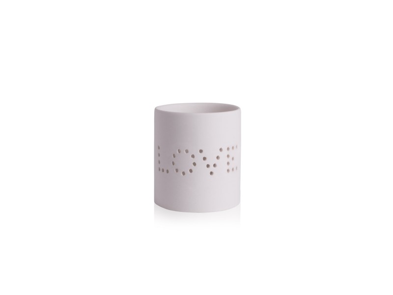 Katie Loxton, Love Ceramic Tea Light Holder, White