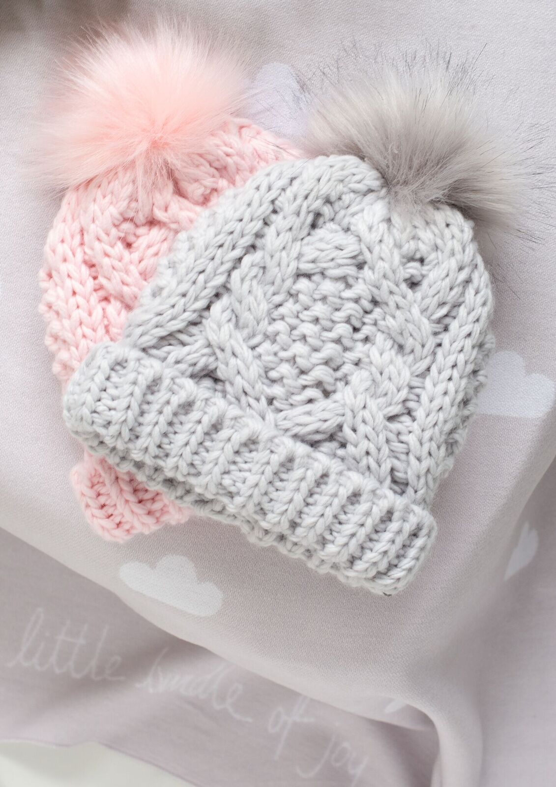 Grey Cable Knit Baby Bobble Hat by Katie Loxton  51d01a102ba