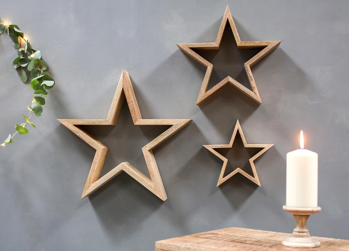 Chana Mango Wood Standing Star - Medium