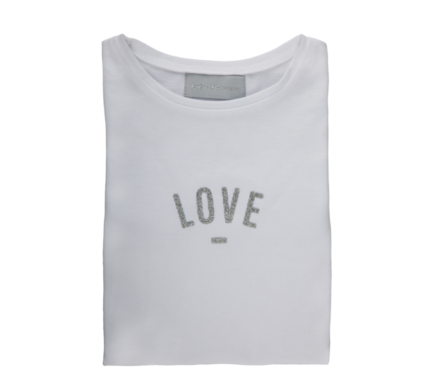 Bob & Blossom, Cap-Sleeved 'Love' T-Shirt, White