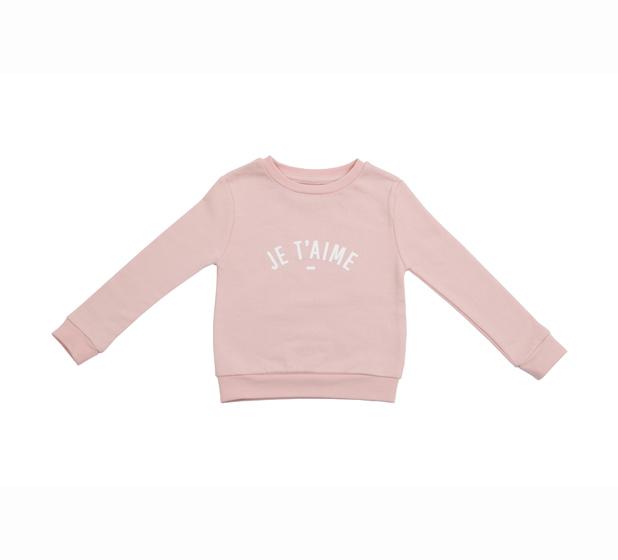 Bob & Blossom, 'Je t'aime' Sweatshirt, Blush Pink