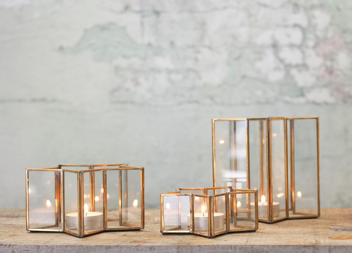 Masamba Star Candle Holders - Brass - Small