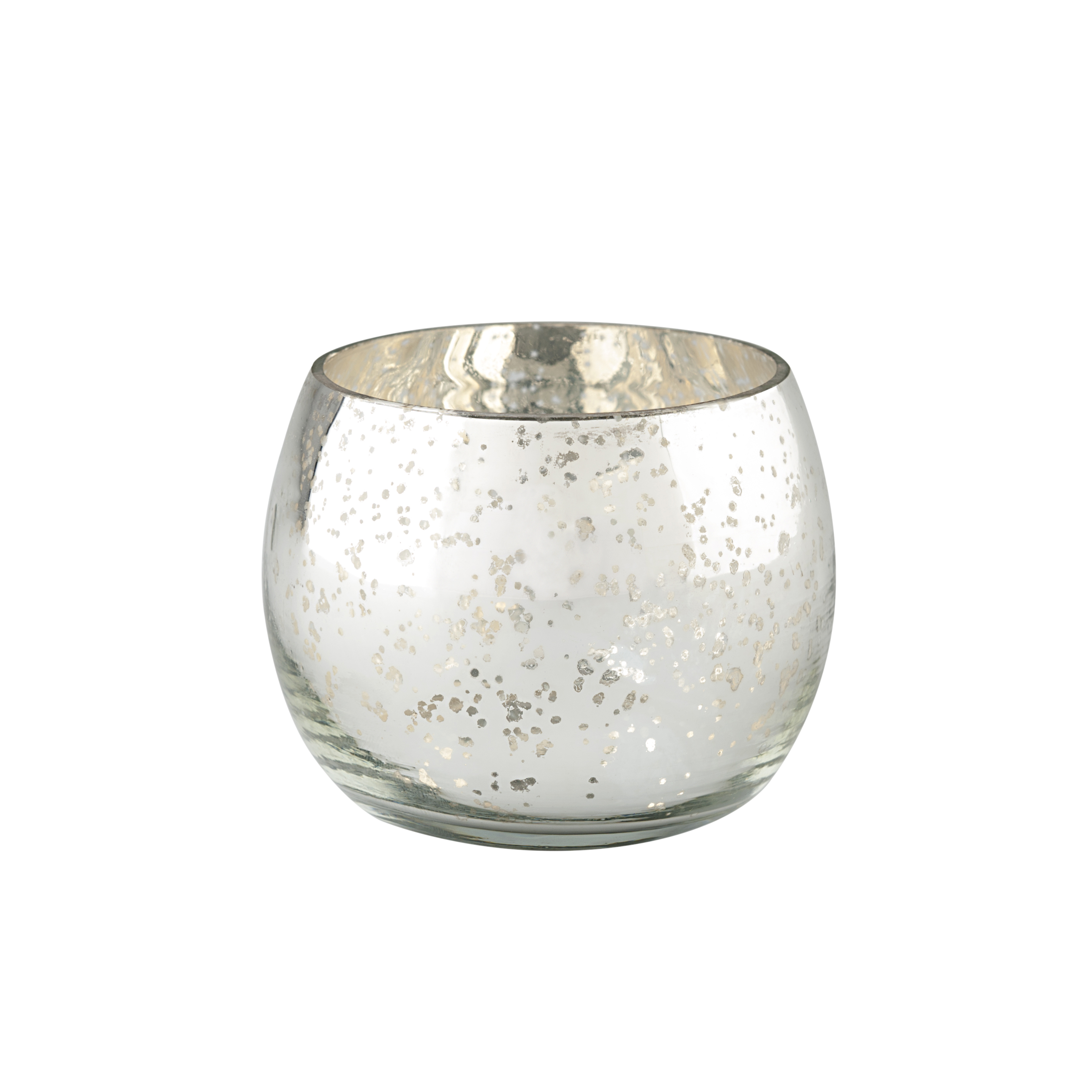 Large Domed Glass Tealight Holder - Silver