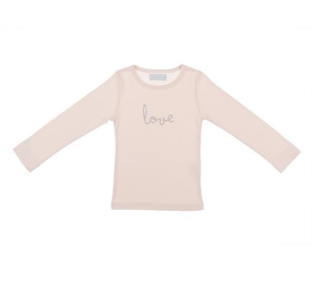 Bob & Blossom, Long Sleeved 'Love' Top, Marshmallow Pink