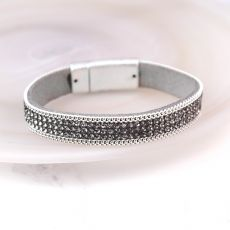 Pom Wide Crystal Chain Leather Bracelet - Grey