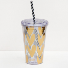 Caroline Gardner Gold Hearts Cup and Straw