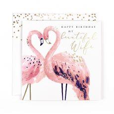 "Hotchpotch Swan Lake ""Beautiful Wife"" Flamingo Birthday Card"