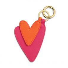 Katie Loxton Luxe Heart Keyring - Hot Pink/Orange