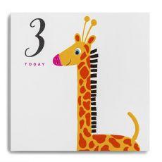 """Janie Wilson """"3 Today"""" Kids Giraffe Birthday Card"""