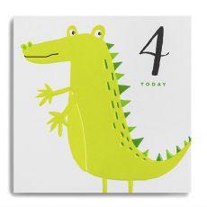 """Janie Wilson """"4 Today"""" Kids Crocodile Birthday Card"""