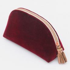 Caroline Gardner Burgundy Velvet Halfmoon Cosmetic Bag