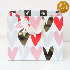 Caroline Gardner Metallic Hearts Gift Bag - Medium