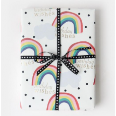 "Caroline Gardner Rainbow ""Birthday Wishes"" Gift Wrap Sheet"