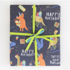 "Caroline Gardner Dinosaurs ""Happy Birthday"" Gift Wrap Sheet"