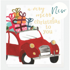Caroline Gardner Red Car Charity Christmas Cards (Pack of 8)