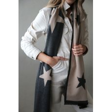 Tutti & Co Starlight Blanket Scarf - Charcoal/Natural