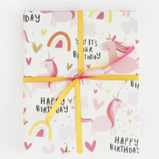 "Caroline Gardner Unicorns ""Happy Birthday"" Gift Wrap Sheet"