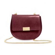 Katie Loxton Celine Faux Croc Saddle Bag - Burgundy