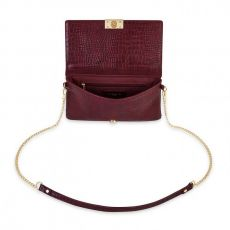 Katie Loxton Celine Faux Croc Fold Over Crossbody Bag - Burgundy