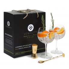Handmade Copa Gin Glasses with Gold Accessories - Gift Boxed