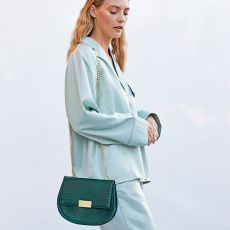 Katie Loxton - Celine Faux Croc Saddle Bag - Forest Green
