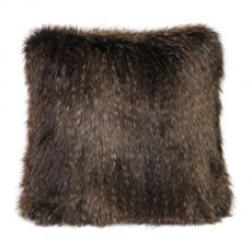 Luxurious Square  Faux Fur Cushion & Pad  - Brown Bear