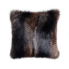 Luxurious Square Faux Fur Cushion & Pad - Black Quail
