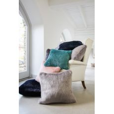 Luxurious Square 40cm Faux Fur Cushion & Pad  - Lady Grey
