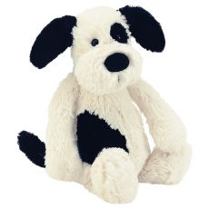 "Jellycat ""Bashful Puppy"" Teddy - Black/White"