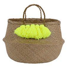 Meri Meri Neon Yellow Tassel Basket
