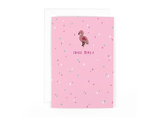 "Hotchpotch Flair ""Flock Yeah"" Flamingo Card With Badge"