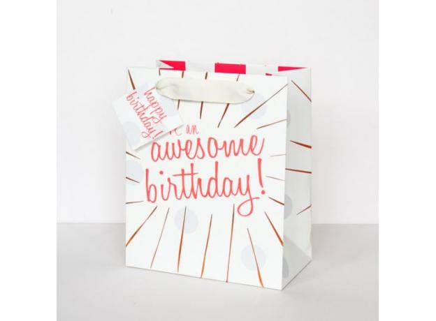"""Caroline Gardner """"Awesome Birthday"""" Gift Bag - Medium"""