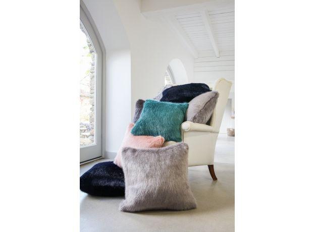 Luxurious Square Faux Fur Cushion & Pad - Black Quail